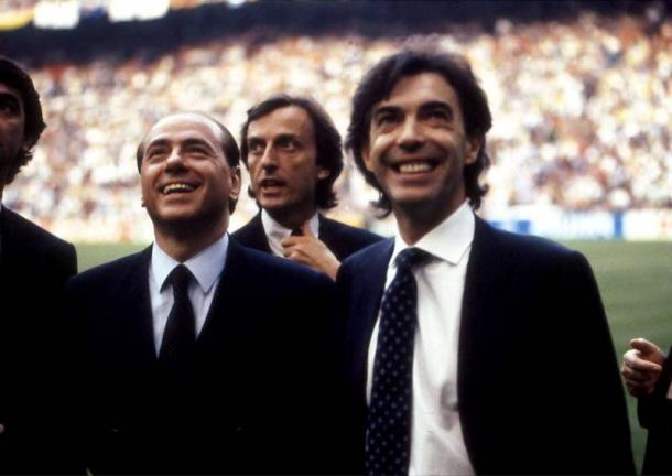 Due giovani Berlusconi e Moratti a San Siro. | Foto: fantardore.it