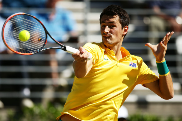 Tomic in action for Australia in the Davis Cup World Group playoffs (Photo: Matt King/Getty Images AsiaPac)