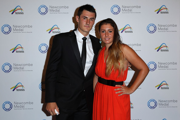 Bernard and Sara Tomic arrive prior to the 2013 Newcombe Medal at Crown Palladium. | Photo: Robert Prezioso/Getty Images AsiaPac