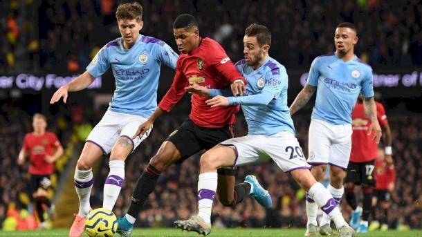 Contra de Rashford que dió origen al penalti.   Manchester City