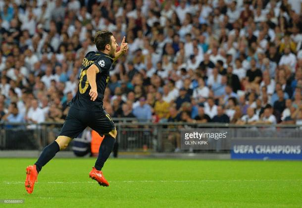 Bernardo Silva scores against Spurs in the Champions League group stage. Source - Getty.