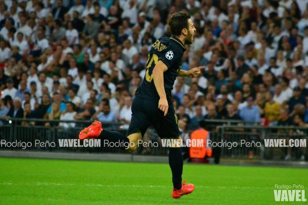Bernardo Silva celebrates giving Monaco the lead at Wembley | Photo: Rodrigo Pena/Vavel UK