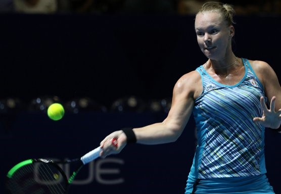Kiki Bertens lines up a forehand during her victory on Tuesday. Photo: IPTL