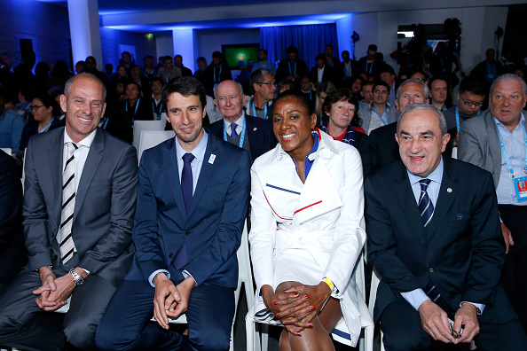 Forget, on the far left, attends the opening draw ceremonies of the 2016 French Open. Credit: Bertrand Rindoff Petroff/Getty Images