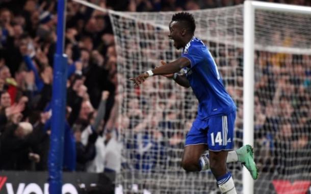 Bertrand Traore celebrates his first Premier League goal against Stoke City.