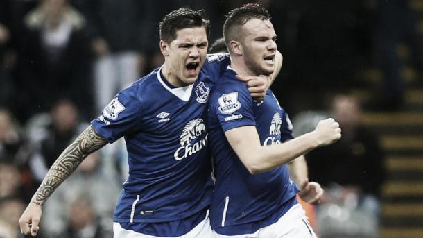 Besic celebrates with Cleverley. Photo: Sky Sports