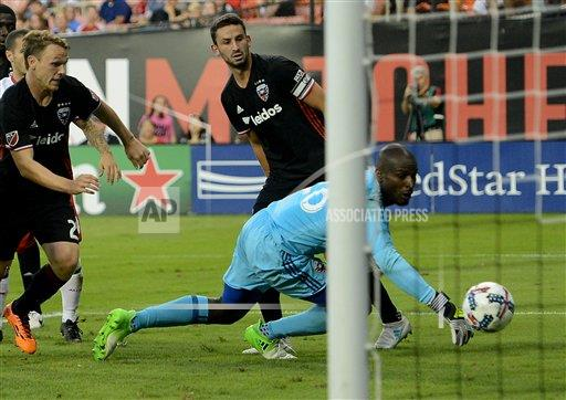Bill Hamid can't stop Birnbaum's deflected own goal. | Source: Chuck Myers, Cal Sport Meida/AP Images