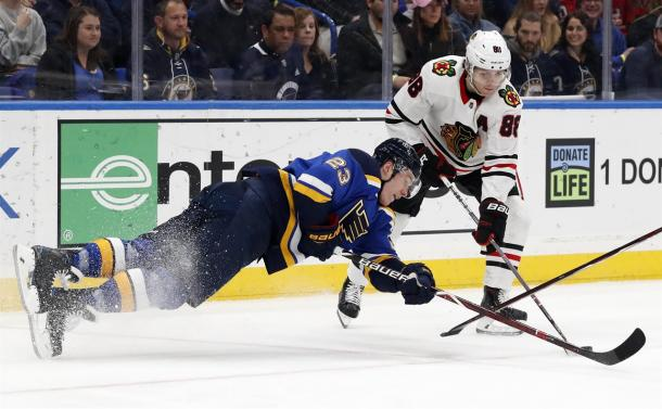The St. Louis Blues dropped a tough game which had playoff implications to the Blackhawks. (Photo: AM 970 The Answer)