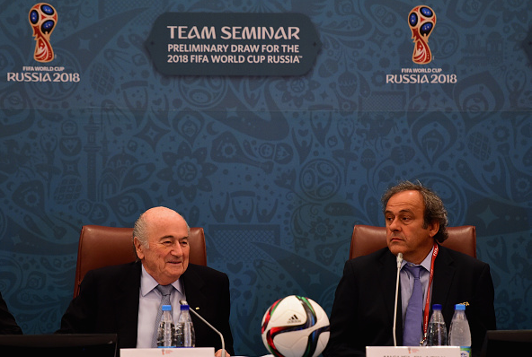 FIFA President Joseph S. Blatter and UEFA President Michel Platini look on during the Team Seminar ahead of the Preliminary Draw of the 2018 FIFA World Cup / Shaun Botterill - Getty Images