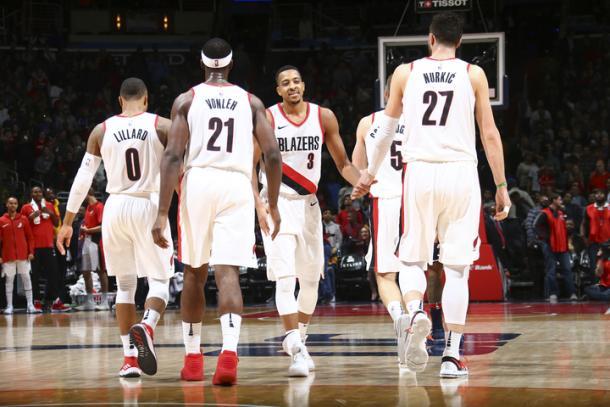 Los Blazers en su encuentro contra los Wizards | Foto: Portland Trail Blazers