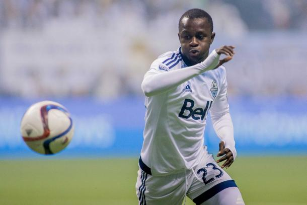 Vancouver's Kekuta Manneh will be looking to expose the short handed Los Angeles defense on Monday at the StubHub Center. Photo provided by Bob Frid-USA TODAY Sports.