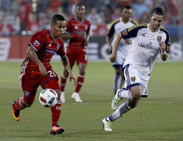 FC Dallas right winger Michael Barrios (left, in red) could lead FC Dallas to three more points on Saturday. Photo Credit: Stewart F. House Photography