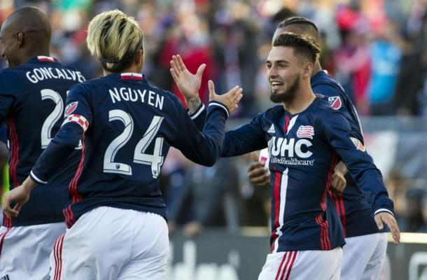 New England Revolution midfielder Diego Fagundez (right) was the man-of-the-match on Sunday. Photo credit: Winslow Townson / USA Today Sports