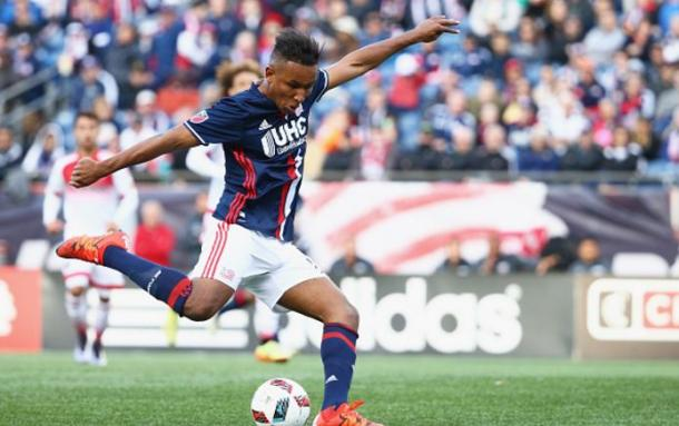 New England Revolution forward Juan Agudelo (top) has been on fire over his last six matches. Photo credit: Maddie Mayer/Getty Images Sport
