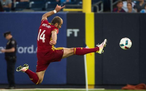 Real Salt Lake center forward Yura Movsisyan (center) has been on fire for RSL over the last couple months. Photo credit: Michael Stewart/Getty Images Sport