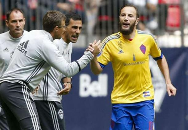Colorado Rapids winger Shkelzen Gashi (right, in yellow and blue) scored two classy goals on Saturday. Photo credit: Jennifer Buchanan/USA Today Sports