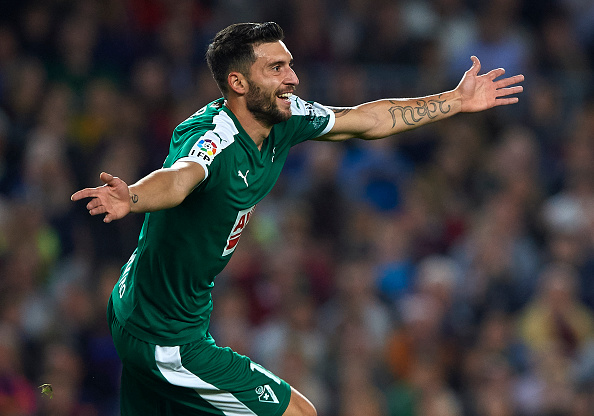 Borja Baston celebrates scoring against Barcelona. | Image credit: Manuel Queimadelos Alonso/Getty Images