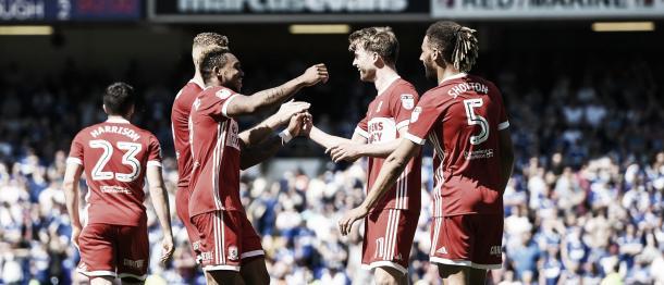 Los jugadores del Boro celebran la igualdad en el Ipswich. Foto: Middlesbrough.