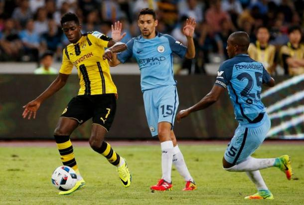 Borussia Dortmund in their most recent pre-season game against Manchester City. (Image source: Mirror)