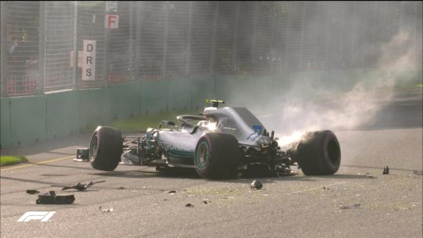 Bottas bateu forte e causou bandeira vermelha no Q3 (Foto: Divulgação/Formula 1)
