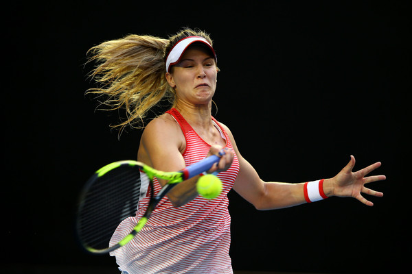 Genie Bouchard hits a forehand during her second round loss in Melbourne. Photo: Mark Kolbe/Getty Images