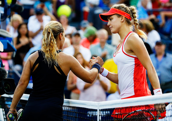 Cibulkova (left) and Bouchard shake hands after Bouchard's victory at the US Open. Photo: Al Bello/Getty Images