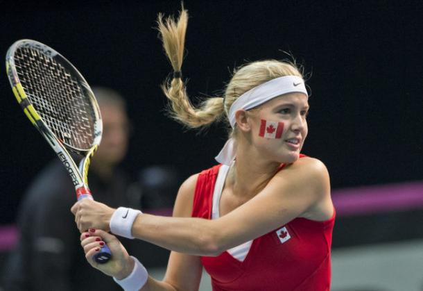 Eugenie Bouchard in Fed Cup play. Photo: Joel Lemay/QMI Agency