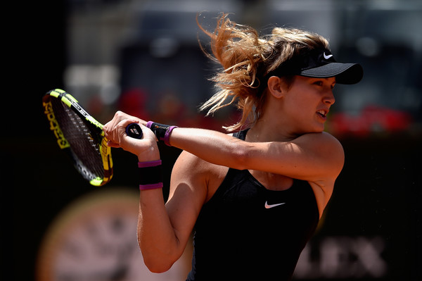 Eugenie Bouchard hits a backhand during her first round win. Photo: Dennis Grombowski/Getty Images