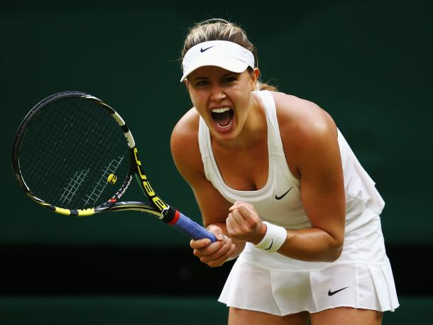 Bouchard roars after her fourth round victory at Wimbledon in 2014. Photo: Getty Images