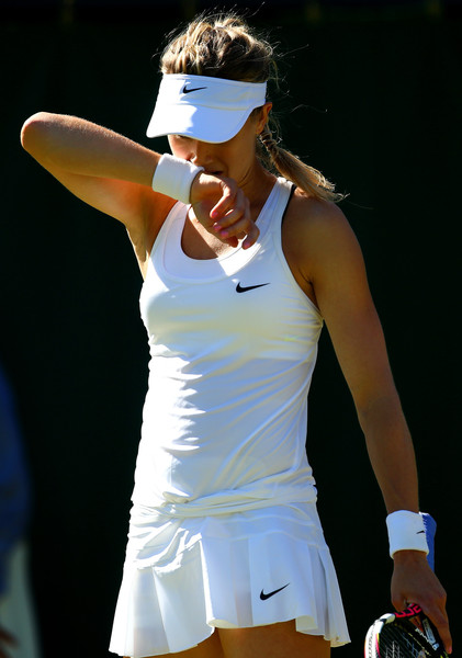 Eugenie Bouchard shows some dejection during her 2015 first round loss at Wimbledon. Photo: Clive Brunskill/Getty Images