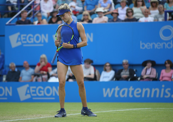 Bouchard shows her frustration during a loss in Eastbourne. Photo: Steve Bardens/Getty Images