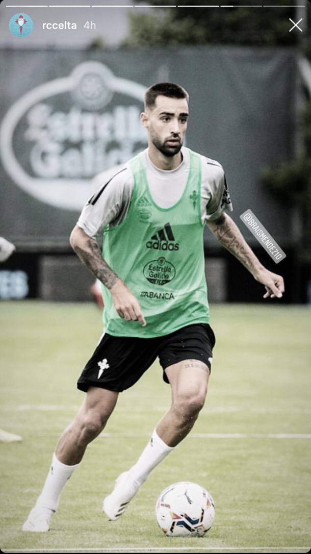 Brais Méndez en un entrenamiento de pretemporada con el Celta / Foto: @rccelta
