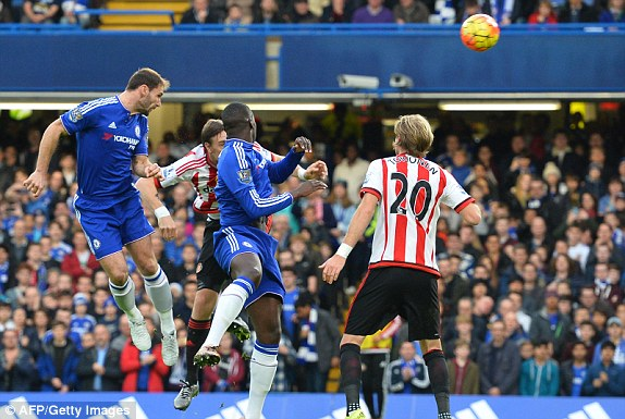 Ivanovic rises highest to open the scoring. (Image credit - AFP/Getty Images - Daily Mail)
