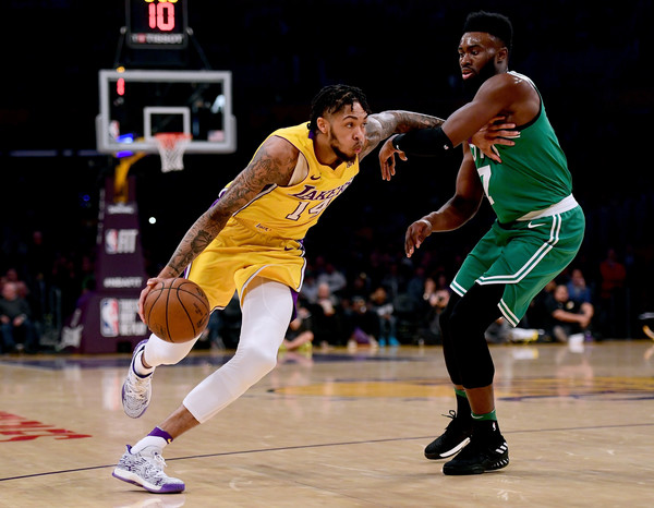 Brandon Ingram #14 of the Los Angeles Lakers drives to the basket on Jaylen Brown #7 of the Boston Celtics during the first half at Staples Center. |Harry How/Getty Images North America|