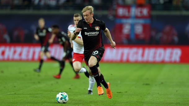 Com dois gols e uma assistência, Brandt foi o grande destaque do jogo (Foto: Reprodução/Bayer 04 Leverkusen)