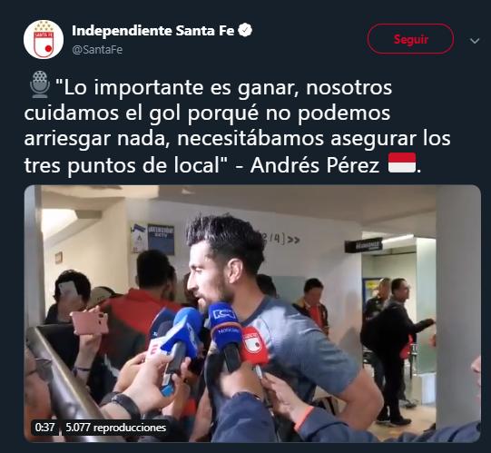 Andrés Pérez, regresando de varias semanas sin fútbol. Imagen: @SantaFe