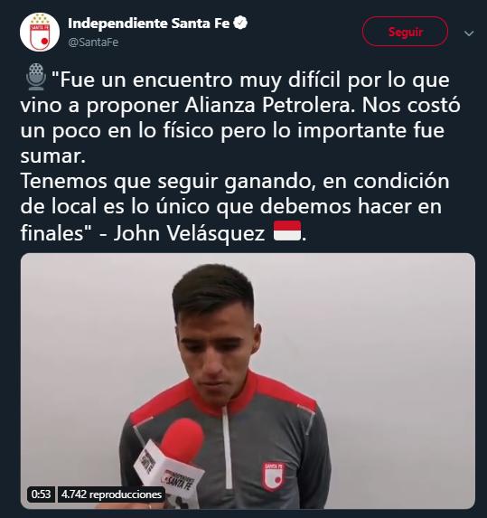Jhon Velásquez en declaraciones post partido ante Alianza Petrolera. Imagen: @SantaFe.