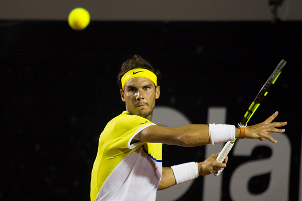 Nadal lines-up for a forehand in his semifinal loss to Pablo Cuevas in Rio de Janeiro. Credit: Brazil Photo Press/CON/Getty Images