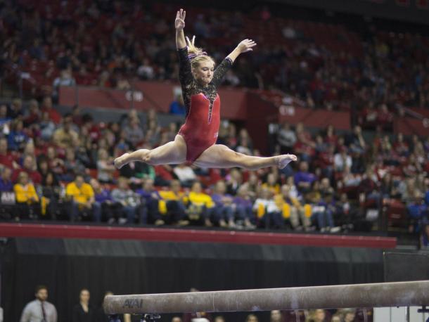 Danielle Breen on Beam Pic: Nebraska Athletic Communications