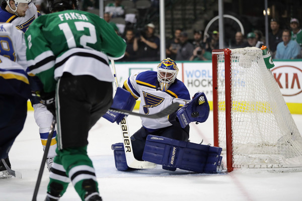 Brian Elliott #1 of the St. Louis Blues makes a save against the Dallas Stars in the third period in Game Seven of the Western Conference Second Round during the 2016 NHL Stanley Cup Playoffs at American Airlines Center on May 11, 2016 in Dallas, Texas. (May 10, 2016 - Source: Ronald Martinez/Getty Images North America)