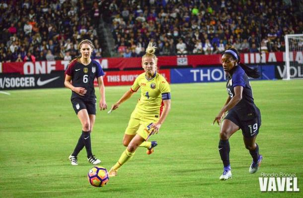 Morgan Brian (left) has been available for the USWNT but her field time has been limited | Source Alondra Rangel - VAVEL USA