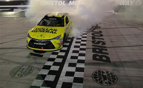 Kenseth celebrates after winning last year. (Brian Lawdermilk/NASCAR Via Getty Images
