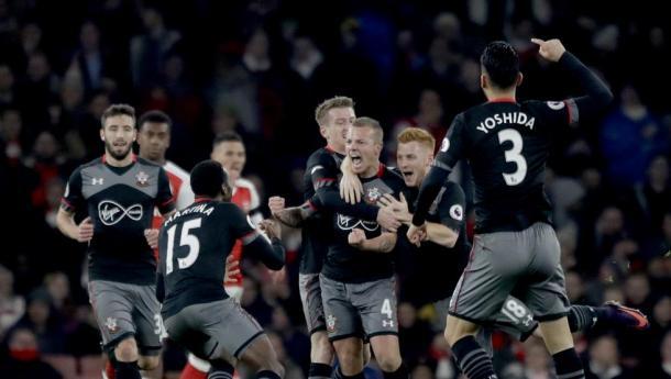 La pazza gioia dei Saints dopo il successo ai quarti sull'Arsenal. Fonte foto: