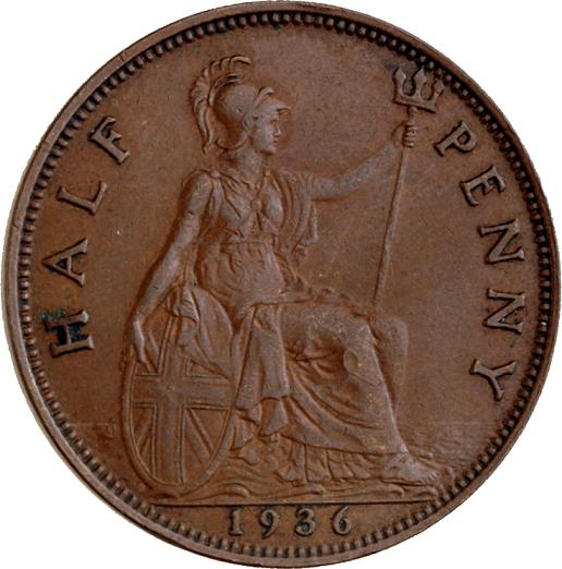 Representación de la Britania en una moneda de medio penique de 1936. PD.