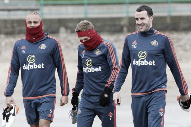 Above: Wes Brown, Sebastian Larsson and John O'Shea training for Sunderland | Photo: The Chronicle