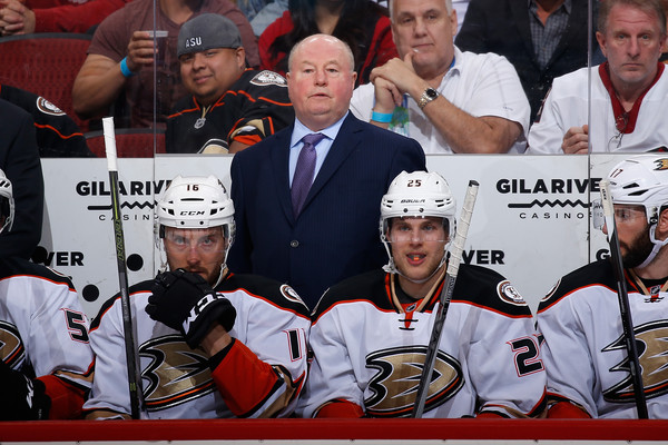 Head coach Bruce Boudreau of the Anaheim Ducks watches from the bench during the NHL game against the Arizona Coyotes at Gila River Arena on March 3, 2016 in Glendale, Arizona. The Ducks defeated the Coyotes 5-1. (March 2, 2016 - Source: Christian Petersen/Getty Images North America)