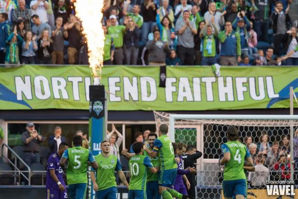 Will Bruin and the Sounders opened the scoring in the 19th minute | Source: Brandon Farris - VAVEL USA