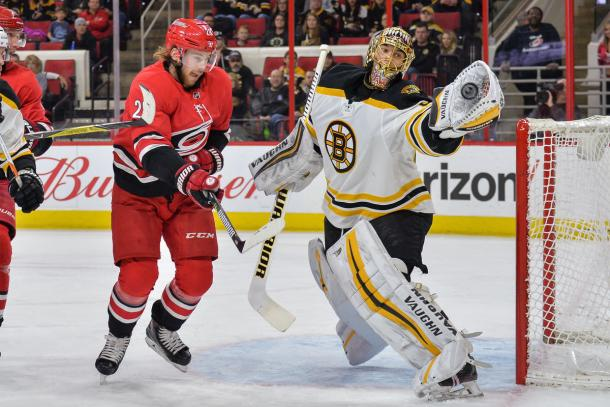 The Boston Bruins were able to catch a win vs Carolina. (Photo by Greg Thompson/Icon Sportswire) (Icon Sportswire via AP Images)