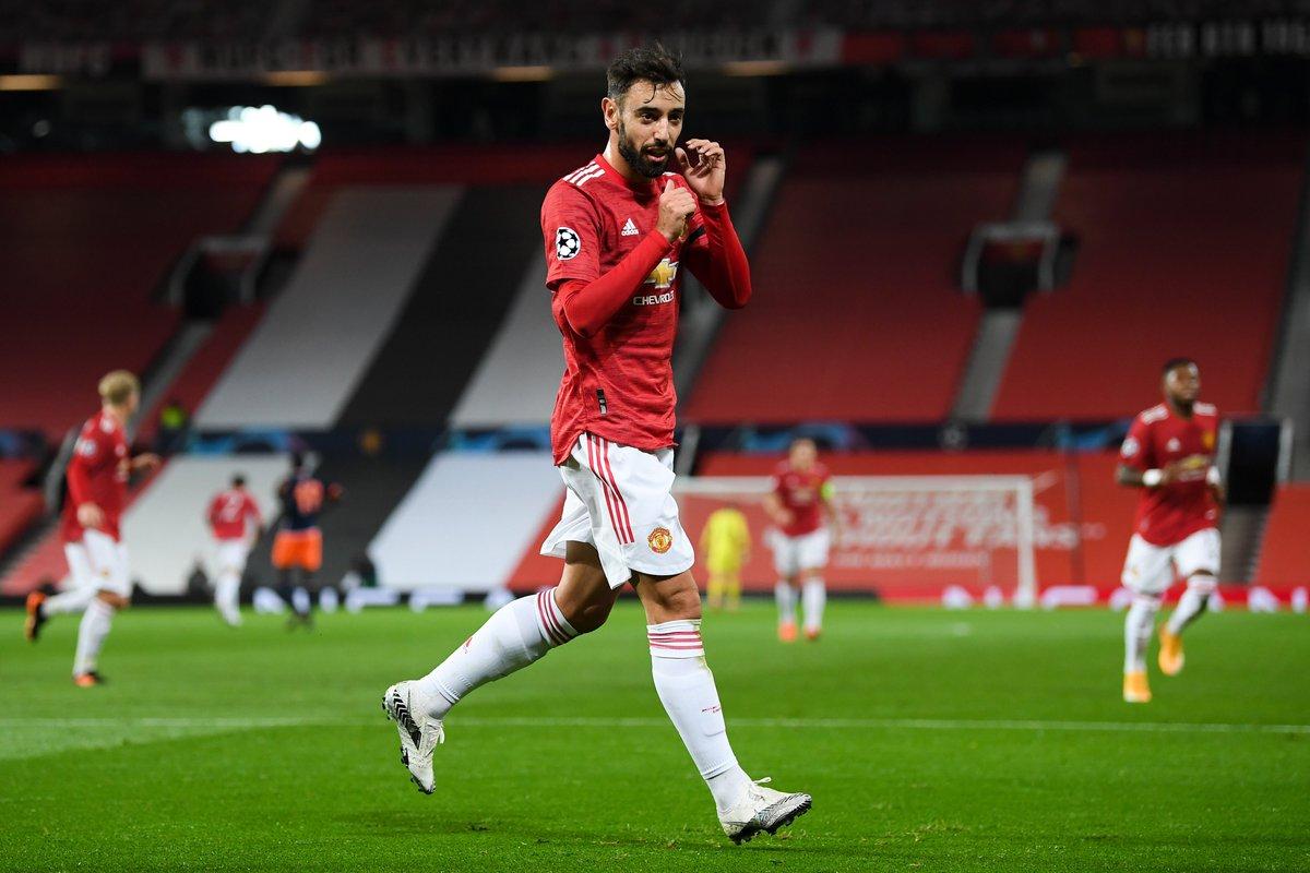Bruno Fernandes celebrando un gol. FUENTE: UEFA