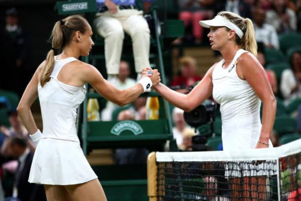 Magdalena Rybarikova and Coco Vandeweghe meet at the net following their match (Getty/Clive Brunskill)